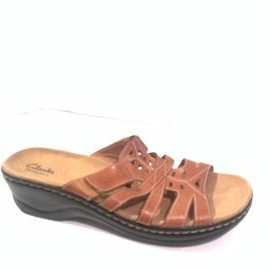 Clark's Bendables Brown leather Sandals Shoes 12